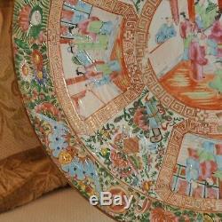18.5 Large Antique CHINESE PORCELAIN FAMILLE ROSE CANTON Platter 18.5 Diameter