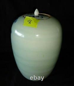 19C Chinese Large Porcelain Covered Jar B&W Lion Dog & Cloud Motif (HeN)#8