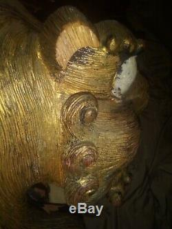 19th ct Chinese Carved Wood Foo Dog Large gold gilded 20lb 18 Phu Lion fo Fu
