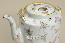 20th Vtg FINE Chinese PRC Fencai HUNDRED BUTTERFLY Large Porcelain Teapot