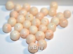 33 Antique Pink Coral Extra Large 10mm Beads Estate Jewelry Chinese