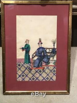 4 Large Framed Antique Chinese Rice Paper Paintings, pith