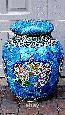 ANTIQUE 1930c CHINESE EXTRA LARGE CLOISONNE ENAMELED PALACE COVERED JAR, URN 24H