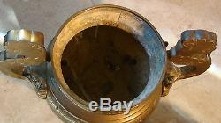 ANTIQUE 19c CHINESE LARGE BRASS, BRONZE INCENSE BURNER ON STAND, FOO-DOG ON A LID