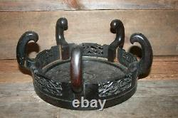 ANTIQUE CHINESE CARVED WOOD DISPLAY STAND Large 10 1/2 wide Asian #6