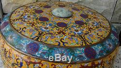 ANTIQUE CHINESE LARGE 16D CLOISONNE COVERED BOX With DRAGON JADE INSERT IN LID #1