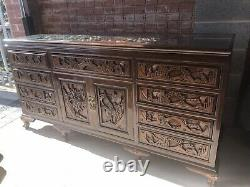 A Large And Impressive Chinese Carved Mahogany Sideboard