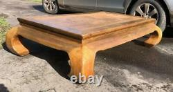 A Large Chinese Chunky Hardwood (teak) Opium Coffee Table With Bamboo/cane Top