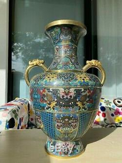 A Large Chinese'Dragon' Handle Cloisonne Vase