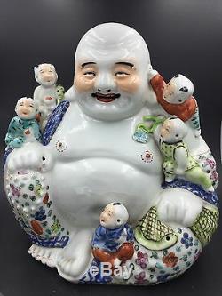 A Large Chinese Famille Rose Porcelain Sitting Buddha Boys You Longsheng