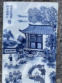 A Large Chinese Porcelian Plaque Blue and White 100 Boys 20th Century