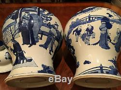 A Pair Large and Rare Chinese Qing Kangxi Style Blue and White Temple Jars