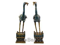 A Pair Of Large Antique Chinese Cloisonné Cranes