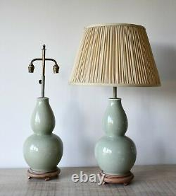 A Pair of Large Mid 20th C Chinese Oriental Celadon Bed Side Table Hall Lamps