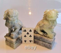 A pair of large vintage Chinese jade fu dogs 3.4kg