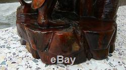 Antique 19c Chinese Large Rosewood Hand Carved Statue Of Fisherman
