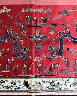 Antique C19th Lrg Chinese Embroidered Silk Banner Textiles Wedding Wall Hanging