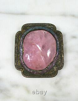 Antique Chinese Enamel Silver Large Carved Pink Tourmaline Peach Shoe Dress Clip
