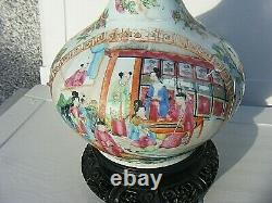 Antique Chinese Famille Rose Bottle Vase With Carved Wooden Base Large