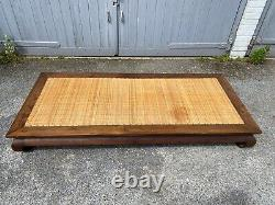 Antique Chinese Hardwood Asian Opium Bed or Table Rattan Top Large Example