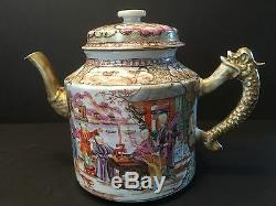 Antique Chinese Large Mandarin Palette Teapot, Qianlong period, Ca 1775
