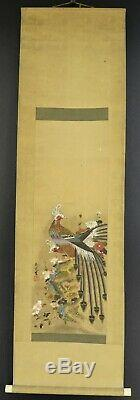 Antique Chinese Large Peacock Bird Ink Painting Hanging Scroll Signed Stamped