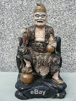Antique Chinese Polychrome Wooden Carved Temple Figure Large