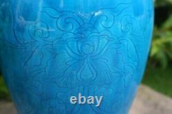 Antique Chinese Porcelain Carving Pattern Greenish-blue Color Large Vase withStand