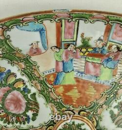 Antique Chinese Rose Medallion Large Oval Platter Circa 1920 15
