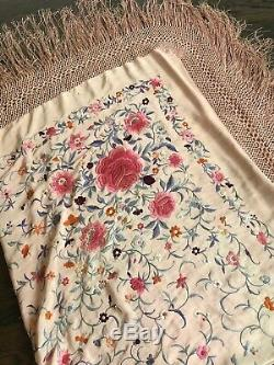 Antique Chinese Silk Hand Embroidered Canton Piano Shawl Embroidery LARGE FLOWER