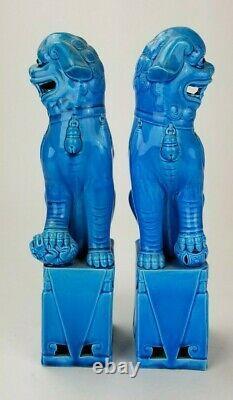 Antique Chinese Turquoise Blue Glazed LARGE 12.25 Foo Lion Dog Buddhist Figures