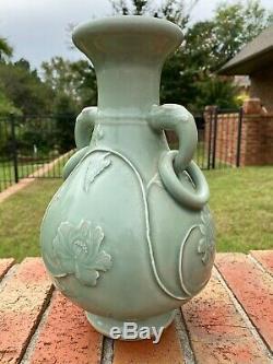 Antique Chinese Vase Large Celadon Glazed Carved Elephant Handles Porcelain