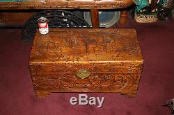 Antique Chinese Wood Carved Large Storage Chest Trunk Dragons Men Detailed