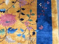 Antique Hand Made ArtDeco Chinese Oriental Gold Blue Wool Large Carpet 450x306cm