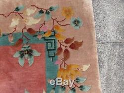 Antique Hand Made ArtDeco Chinese Oriental Pink Wool Large Carpet 354x267cm