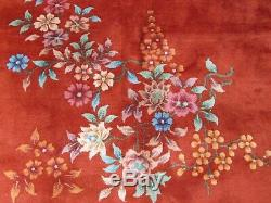 Antique Hand Made ArtDeco Chinese Oriental Red Wool Large Carpet 310x270cm