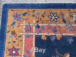 Antique Hand Made Art Deco Chinese Carpet Blue Gold Wool Large Carpet 340x244cm