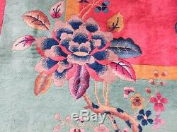 Antique Hand Made Art Deco Chinese Carpet Cherry Red Wool Large Carpet 350x270cm