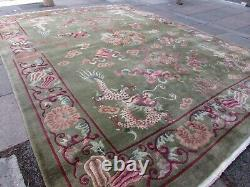 Antique Hand Made Art Deco Chinese Carpet Green Wool Large Carpet 407x320cm