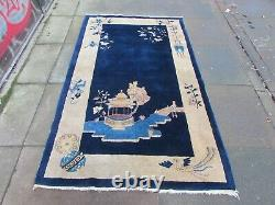 Antique Hand Made Art Deco Chinese Oriental Navy Blue Wool Large Rug 206x123cm