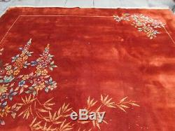 Antique Hand Made Art Deco Chinese Oriental Red Wool Large Carpet 414x329cm