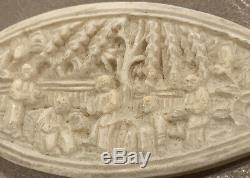 Antique Large 3 1/4 Chinese Beautiful Hand Carved Bovine Bone Tatting Shuttle