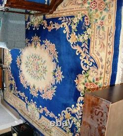 Antique Large Chinese Aubusson Rug Blue & Cream 12 X 9