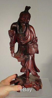 Antique Large Chinese Carved Boxwood Hardwood Immortal Figure Scholar