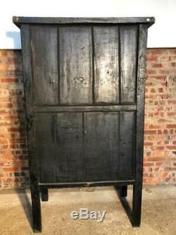 Antique Large Chinese Original Hand Painted Red Cabinet Wardrobe C 1920