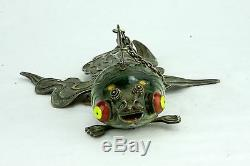 Antique Large Chinese Silver Enameled Green Articulated Koi Fish