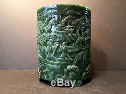 Antique Large Chinese Spinach Jade Brush Pot with Carvings, Qing (1644-1912)