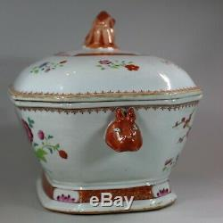 Antique Large Chinese octagonal famille rose tureen and cover, Qianlong 1736-95