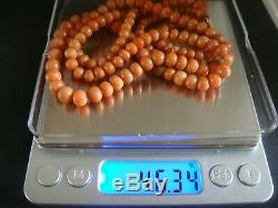 Antique Large Not Dyed Salmon Coral Beads 36 Ins 46 Grams Chinese Interest