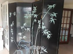 Antique Large Oriental Chinese Black Lacquer Room Divider Folding Screen
